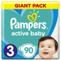 1 - Pampers Pieluchy Active Baby 3 Midi (6-10 kg)  Giant Pack - 90 szt.