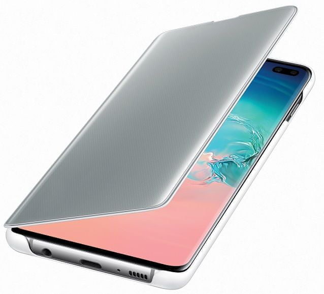 Samsung Clear View Cover Galaxy S10 plus, bílé EF-ZG975CWEGWW - rozbaleno