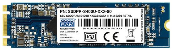 GoodRam SSD disk S400u 120 GB, M.2 2280, SATA III, TLC NAND