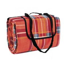 Butlers GET TOGETHER Pikniková deka XXL 200 x 200 cm károvaná - červená