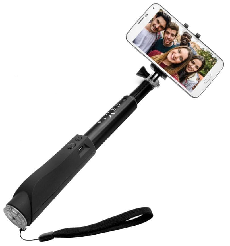 Fixed Teleskopický selfie stick v luxusním hliníkovém provedení s BT spouští, černý FIXSS-BT-BK