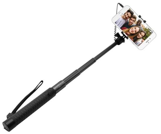 FIXED Teleskopický selfie stick v luxusním hliníkovém provedení, 3,5 mm jack, černý FIXSS-W-BK