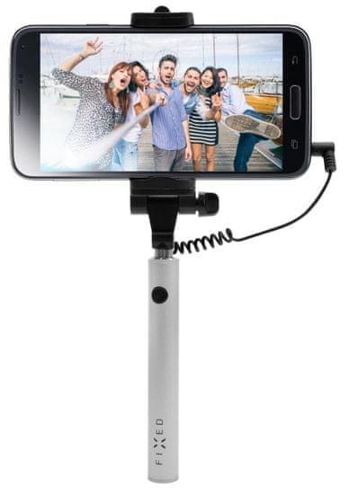 FIXED Kompaktní selfie stick Snap Mini, spoušť přes 3,5 mm jack, stříbrný FIXSS-SNM-SL