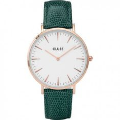 Cluse La Bohème Rose Gold White/Emerald Lizard CL18038
