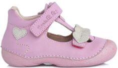 D-D-step dívčí kožené sandály se srdíčky