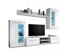 TEMPO KONDELA Obývací stěna HENRI, bílá extra vysoký lesk / čiré sklo