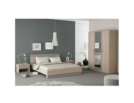 TEMPO KONDELA Ložnicový komplet GRAPHIC (skříň + postel + 2x noční stolek), dub arizona / šedá