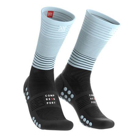 Compressport Mid Compression Socks Black/Ice Blue - T4