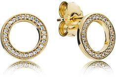 Pandora Pozlacené stříbrné náušnice s kamínky 267112CZ stříbro 925 1000 a8c4202d979