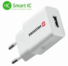 SWISSTEN Síťový adaptér SMART IC 1× USB 2,1 A Power, bílý 22013308