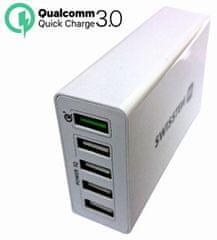 SWISSTEN Síťový adaptér Qualcomm 3.0 Quick Charge + SMART IC 5× USB 50 W Power, bílý 22013306
