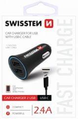 SWISSTEN CL adaptér 2,4 A Power 2× USB + kabel USB-C 20110908