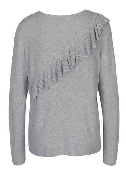 ONLY světle šedý žíhaný svetr s volánem Mila