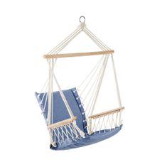 Butlers BABOON Závěsné křeslo s dřevěnými područkami - modrá