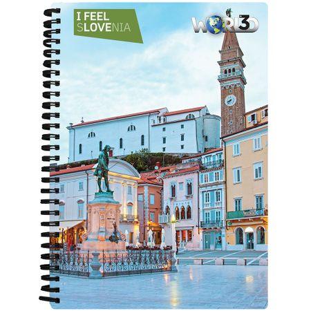 World 3D notebook A6 50L– Bled, spirala