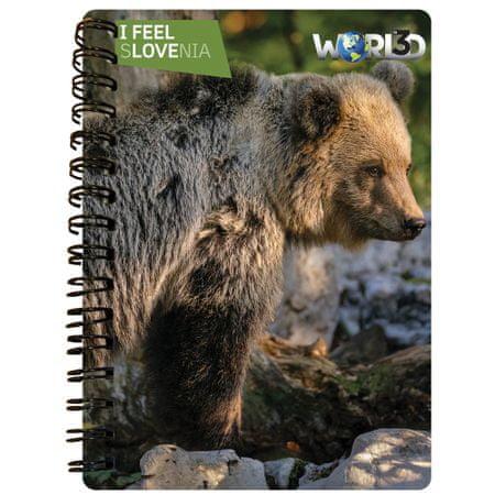World 3D notebook A6 50L, spirala – rjavi medved