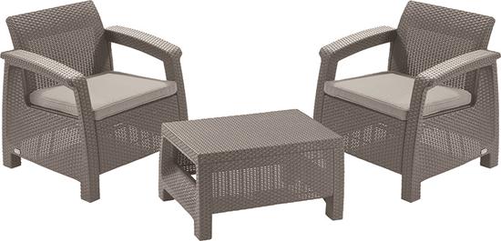 Allibert 3-delni komplet stolov z mizo Corfu Weekend, kapučino
