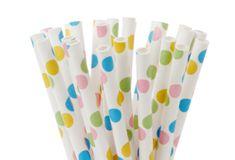 Papírové tyčinky na cake pop puntíkované 20ks 15cm