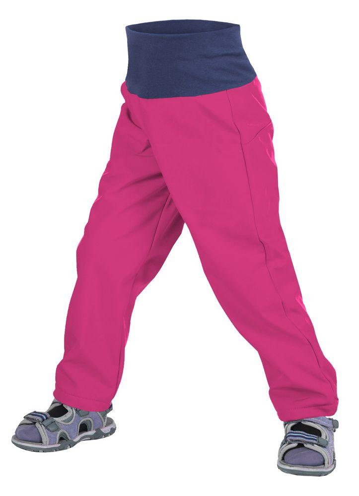 Unuo dívčí softshellové slim kalhoty bez zateplení 86 - 92 růžová