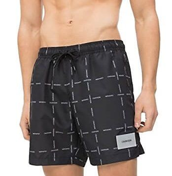 Calvin Klein Pánské koupací kraťasy Medium Drawstring KM0KM00306-055 Cube  Logo Black (Velikost M e9a1e29759
