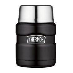 Thermos Style Termoska na jídlo se skládácí lžící a šálkem - matně černá 470 ml