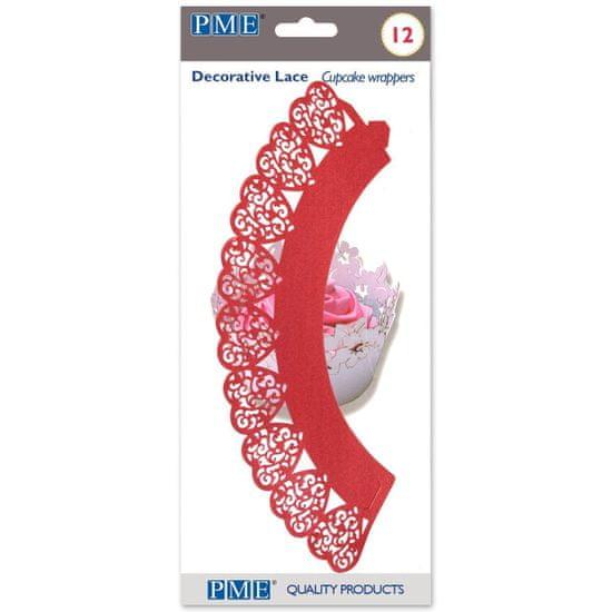 PME Ozdobný lem na košíčky srdce červená 12ks