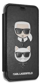 Karl Lagerfeld Karl and Choupette Book Pouzdro Black pro iPhone XR KLFLBKI61KICKC