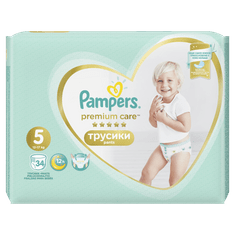 Pampers Plenkové kalhotky Premium Pants 5 Junior - 12-17 kg, 34 ks