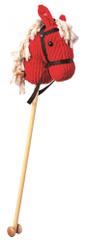 Bino konik na kiju - czerwony sztruks