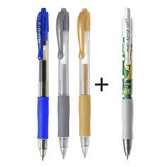 Pero gelové Pilot 2605 G2 0,7 modré, zlaté, stříbrné + Pero gelové Pilot 2605 G2 edice Mika zelené