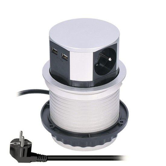 Solight výsuvný blok, 3 zásuvky, 2x USB, kruhový tvar nízký, prodlužovací přívod 1,5m, 3 x 1mm2, stříbrný