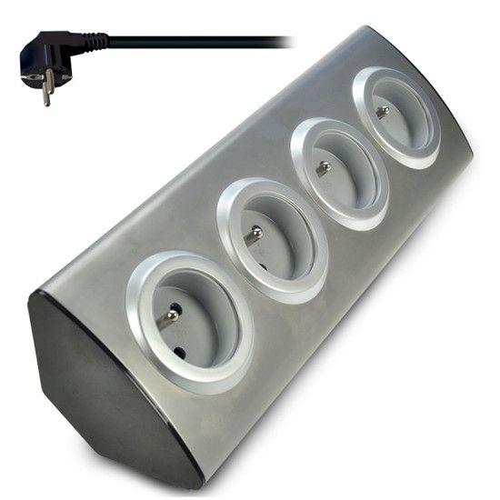 Solight prodlužovací přívod, 4 zásuvky, stříbrný, 1,5m, rohový design PP103
