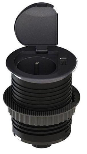 Solight USB vestavná zásuvka s víčkem, plast, prodlužovací přívod 1,5m, USB 2100mA