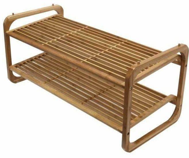Compactor UGO 2-patrový botník z přírodního bambusového dřeva, nastavitelný