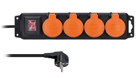 Solight przedłużacz IP44, 4 gniazda, wyłącznik, zewnętrzny, 3m