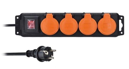 Solight prodlužovací přívod IP44, 4 zásuvky, vypínač, venkovní, 5m