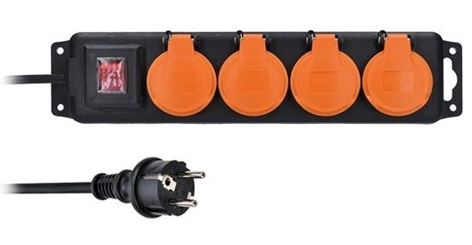 Solight prodlužovací přívod IP44, 4 zásuvky, vypínač, venkovní, 10m