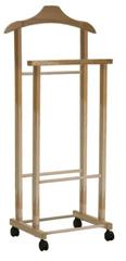 Compactor Hector 2 němý sluha na šaty, dvojitý na kolečkách, světlé dřevo