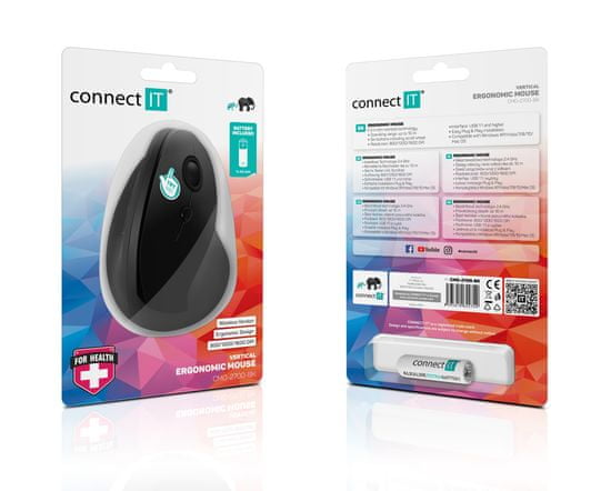 Connect IT ergonomiczna mysz pionowa CMO-2700, biała (CMO-2700-WH)