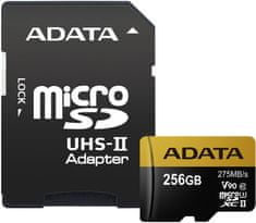 A-Data microSDXC Premier One 256GB UHS-II U3 + SD adaptér (AUSDX256GUII3CL10-CA1)