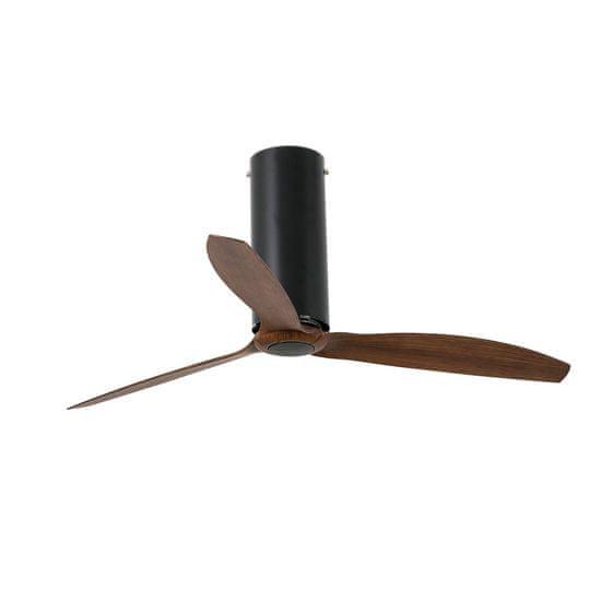 """FARO Barcelona TUBE FAN 32037 50,4"""" matná černá/tmavé dřevo Reverzní stropní ventilátor"""