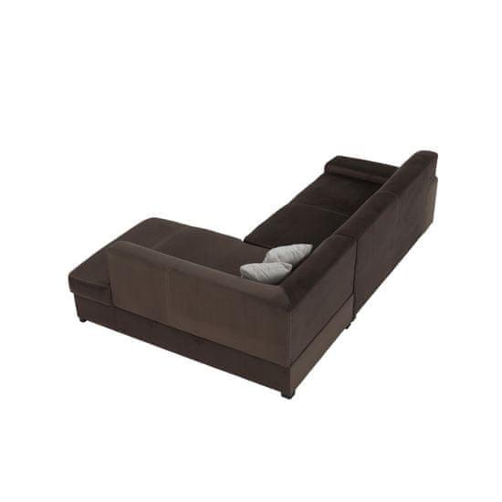 KONDELA Minerva P rohová sedačka s rozkladom a úložným priestorom hnedá