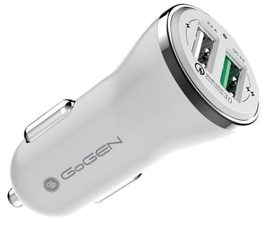 GoGEN Rýchlonabíjačka do auta CHQ 27 W, Qualcomm Quick Charge 3.0, 2× USB, biela