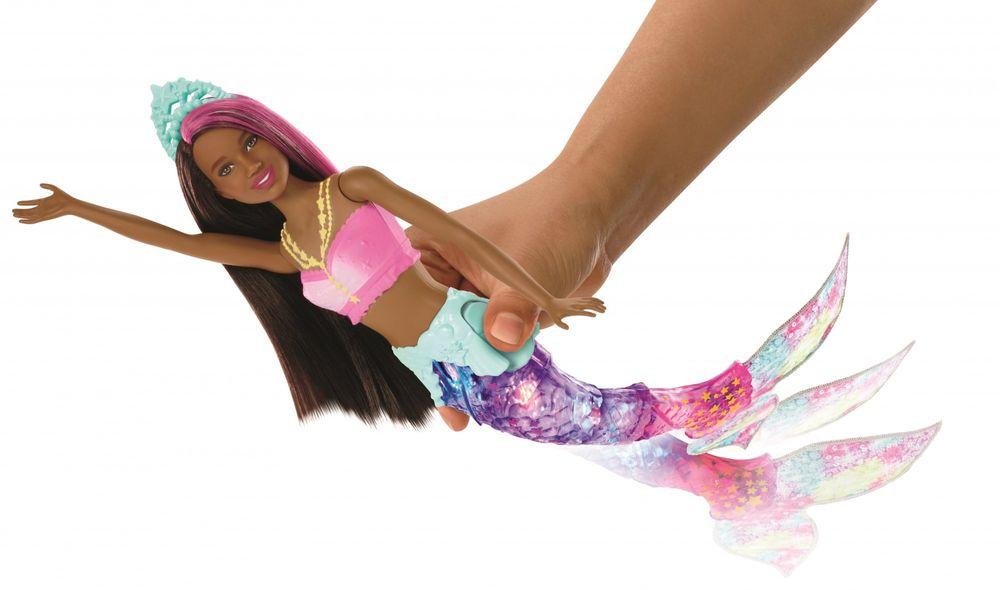Mattel Barbie Svítící mořská panna s pohyblivým ocasem - černoška - rozbaleno