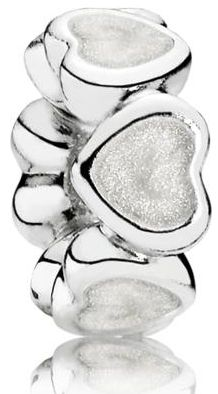 Pandora Oddělující korálek s bílými srdíčky 791775EN23 stříbro 925/1000