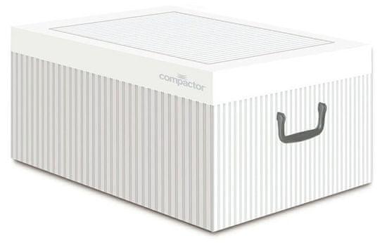 Compactor Anton összecsukható tároló doboz - karton, fehér / szürke
