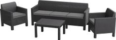 Allibert vrtna garnitura Orlando 3 Sofa, grafit + sive blazine