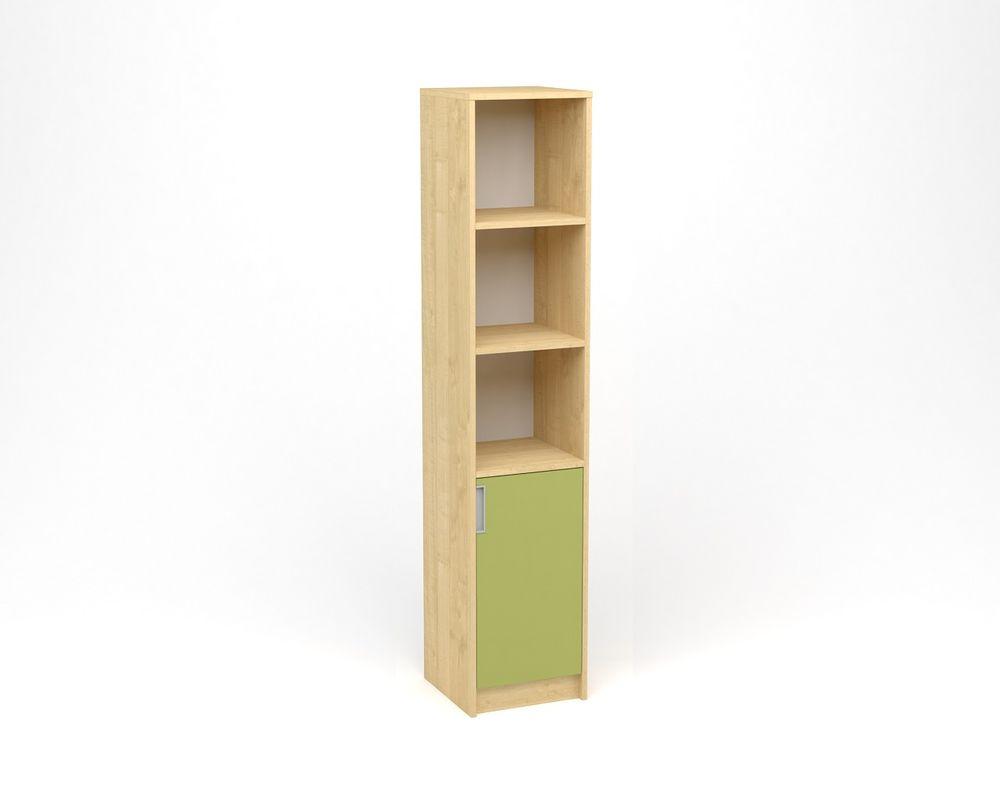 ANTERIA Policová skříň úzká, plná dvířka s nikou - pravá, javor/zelená