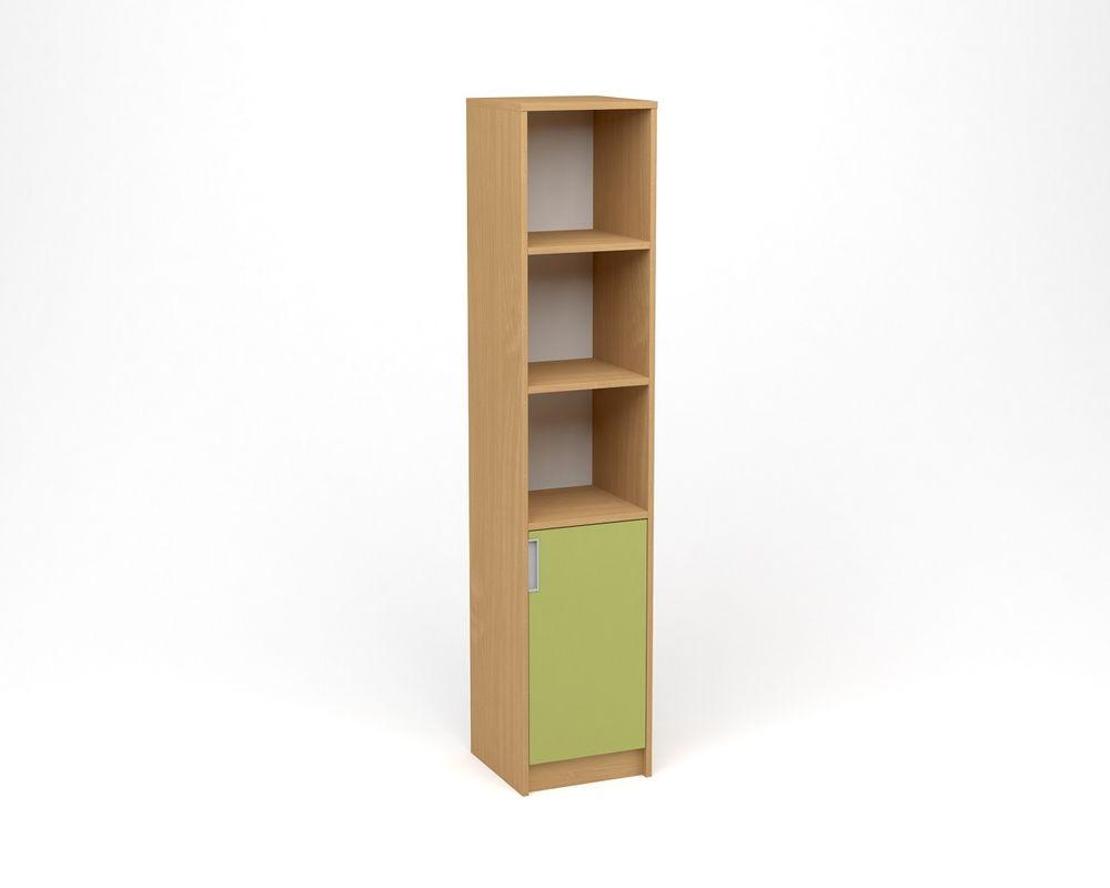 ANTERIA Policová skříň úzká, plná dvířka s nikou - pravá, buk/zelená