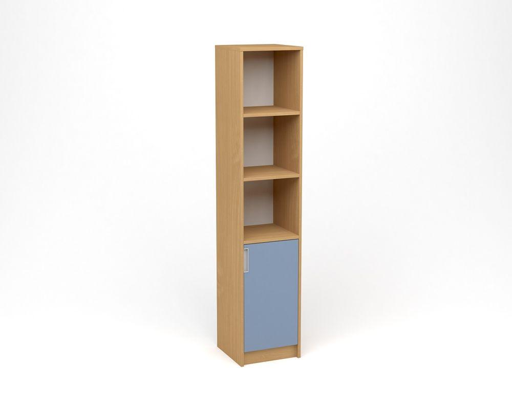 ANTERIA Policová skříň úzká, plná dvířka s nikou - pravá, buk/modrá